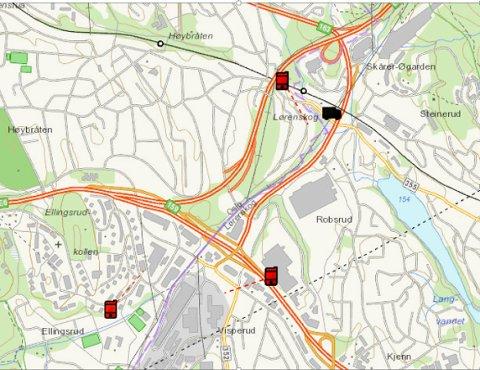 TELEDATA: På kartet ser vi hvor cyanidbilen ble stjålet og tre basestasjoner der det ble gjort utslag på mobiltelefonene. (Illustrasjon: Politiet)