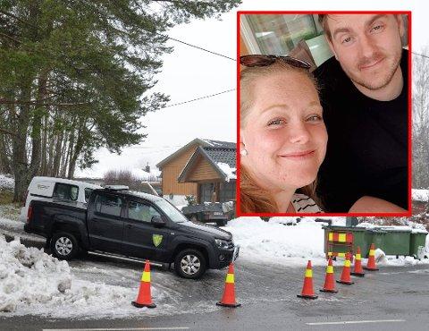 EVAKUERT: Maria Elisabeth Slettmoen Tollander og ektemannen Mats Alexander Tollander med familien måtte plutselig evakuere fra hjemmet sitt torsdag kveld.