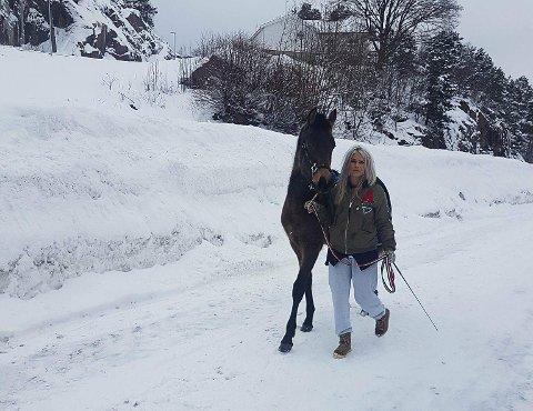 Dette spanske føllet tok onsdag med seg ponni-vennen sin på et eventyr i nabolaget på Ebbestad.
