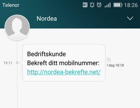 SVINDEL: En SMS som tilsynelatende kommer fra Nordea er sendt ut til et ukjent antall mobilabonnenter.