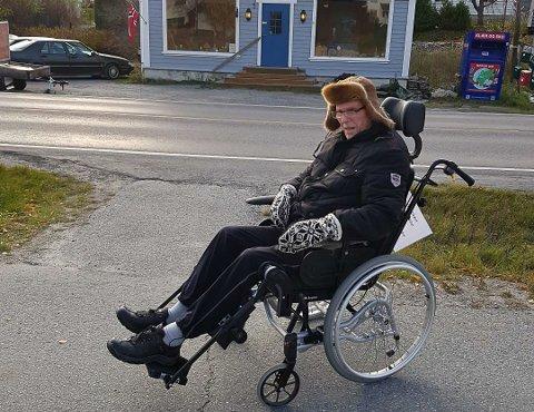 SIKKER OVERGANG: - Planleggingen av Haugmotun syke- og aldershjem i forhold til gang- og sykkelstien langs E134 er i beste fall mangelfull. Det oppleves som håpløst at det ikke er gjort noe som helst for kryssingen av E134, mener Arne Mellinsæter, sønn av Torodd (87) som elsker å komme seg ut.