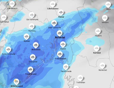 REGN: Snøen går over til regn allerede tirsdag.