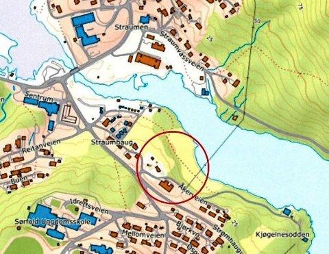 Her planlegges det oppført 8 nye eneboliger. Foto: Sørfold kommune/skjermdump