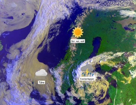 Satelittbilde onsdag fomriddag. Og bedre blir det!