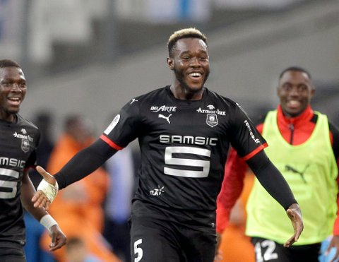 Rennes' Joris Gnagnon, reacts after scoring during the League One soccer match between Marseille and Rennes, at the Velodrome stadium, in Marseille, southern France, Sunday, Sept. 10, 2017. (AP Photo/Claude Paris)