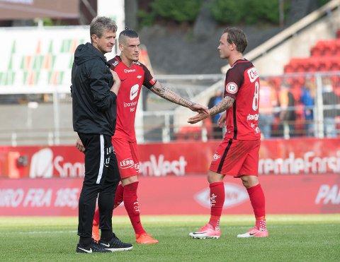 Brann-trener Lars Arne Nilsen, kaptein Vito Wormgoor og Fredrik Haugen skal ut i europaligakvalifisering ui juli. (Foto: Arne Ristesund)