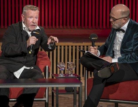 Tomas Espedal moderator Thomas Böhm i den tyske radiokanalen Radio Eins i Berlin i går.