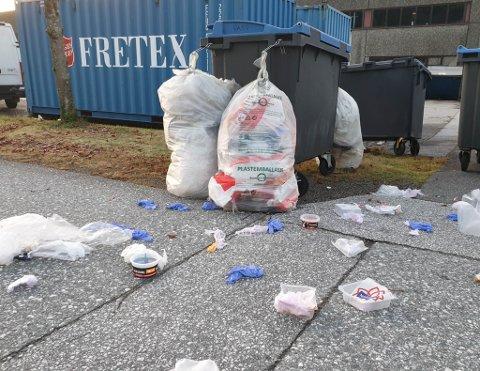 PLAST: Øyrane i Førde søndag morgon. Moralen er sjølvsagt at kråkene må lese informasjonen frå Sunnfjord Miljøverk grundig og lære seg skilnaden på plastavfall og matavfall.
