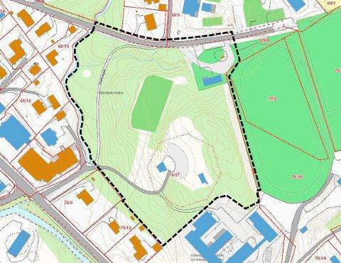 STØRENSLUNDEN: Planområdet fremkommer på kartskissen. Kartdata hentet fra kunngjøring om oppstart til Feste Kapp AS.