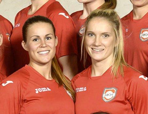 Martine Moen (til venstre) og Cecilie Mørch Hansen spilte sammen i Halden i 14/15-sesongen.