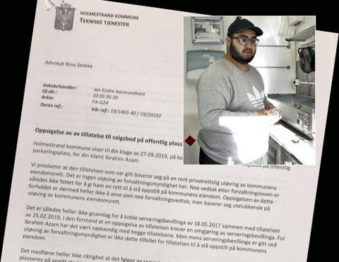 FORTVILER: Potetvogn-innehaver Ibrahim Azam forstår lite av grunnlaget for at Holmestrand kommune fratok ham muligheten til å selge nattmat på plassen i Havnegaten.