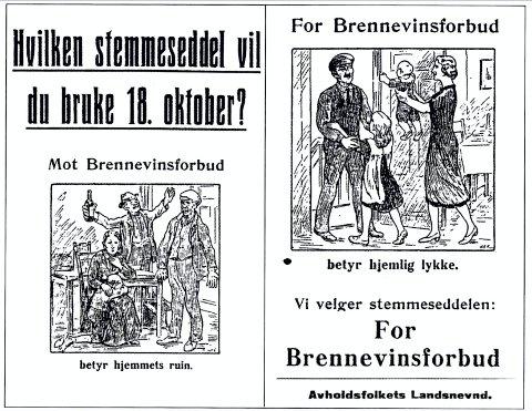 VALGKAMP: Foran folkeavstemningen i 1926 var tegninger på plakater de sterkeste virkemidlene.