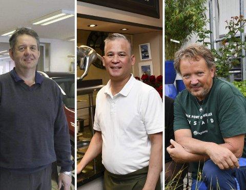 KANDIDATER: F.v.: Bjørkkjærs Auto AS ved Svein Bjørkkjær, Tinas Wok AS ved Olav Nguyen og Ørvik Plantemarked AS ved Svein Ørvik.