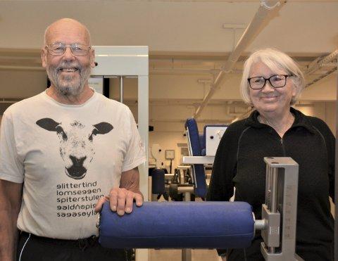 I form: Leif Flaten og Ingunn Bjelland held seg friske og i form i treningsstudio.