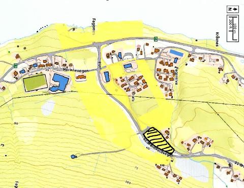 VIL BYGGE: Området markert med sort, viser hvor tomten ligger. Den er ifølge Kirkeforeningen avsatt til kirkelige formål.