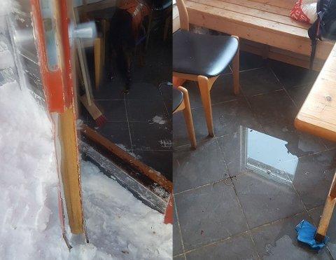 LEKKASJE: Døra i varmebua har ikke holdt tett etter den ble ødelagt for ett år siden.