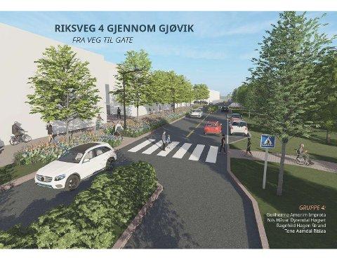 FRA VEI TIL GATE: Her har Guilherme Amorim Improta, Nils Håvar Dyrendal Høgset, Ragnhild Hagen Strand og Tone Aamdal Rislaa laget en illustrasjon som viser et forslag til hvordan riksveg 4 kan bli en gate i sentrum.