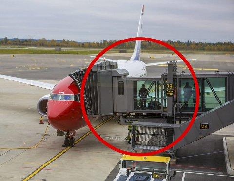 MÅ FJERNES: De er helt nye og knapt seks måneder gamle, nå må ti av tolv flybroer på den nye terminalen på Gardermoen byttes ut. ALLE FOTO: HANS OLAV NYBORG