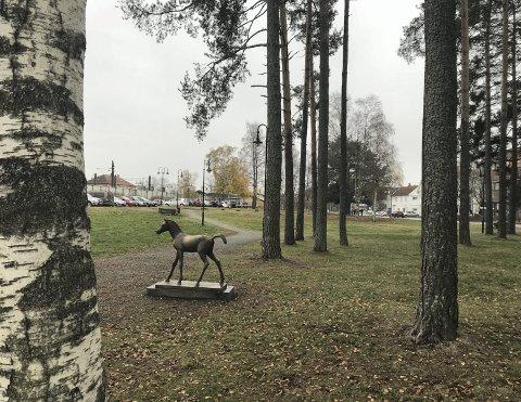 Stasjonsparken på Kløfta: Her er det meningen at et minnesmerke over Stein Ove Berg skal plasseres.Foto: Ola Einbu