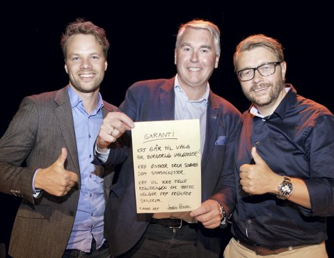 FINNER SAMMEN: Fra venstre Jon Helgheim (Frp), Trond Helleland (H) og Jostein Rensel (KrF).