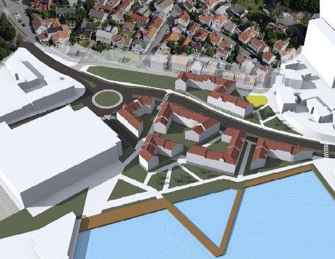 Bryggeområdet: Slik mener Gunnar Skalberg den nederste delen av bykjernen bør utvikles. Han håper innspillet kan sette fart i debatten om hvordan sentrum i Sandefjord skal se ut i framtida. Illustrasjon: Privat