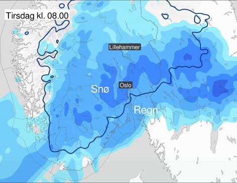 Kartet viser hvor det kommer regn og hvor det kommer snø.
