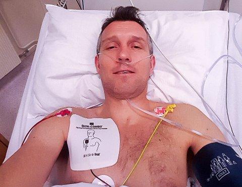 HJERTEFLIMMER: Søndag morgen 26. januar i år hogg det til i brytet til Per Øyvind Alvim og han ble fraktet til Ullevål sykehus. Oppholdet ble starten på en tøff tid for Mysen-mannen. Fortsatt i dag er han ikke frisk.