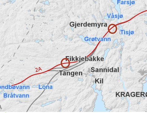 TIl Fikkjebakke: Foreslått korridor for ny E18 fra Grøtvann til Tangen Vest. Ringene illustrerer plassering av veikryss, på Gjerdemyra og Fikkjebakke.