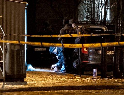 Trondheim 20191205.  En mann ble skutt i Trondheim sentrum torsdag kveld. Krimteknikker jobber på stedet. Foto: Ned Alley / NTB scanpix