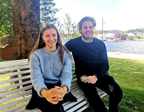 HAR ET FORSLAG: Karoline Aarvold og Fredrik Halsen vil hjelpe de unge. Forslag: Ned med arbeidsgiveravgiften.