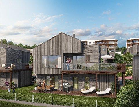 ENEBOLIG: Det skal bygges fire eneboliger i Amundrødveien. Alle har  sjøutsikt, stor terrasse og en kort vei til sjøen.