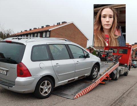 IKKE KJØRBAR: Bilen til Camilla Christina Selnes var ikke kjørbar etter at tyvene hadde brutt seg inn i garasjen.
