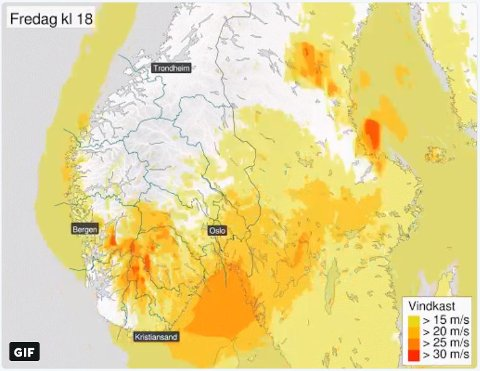 FAREVARSEL: Over hele Sør-Norge.
