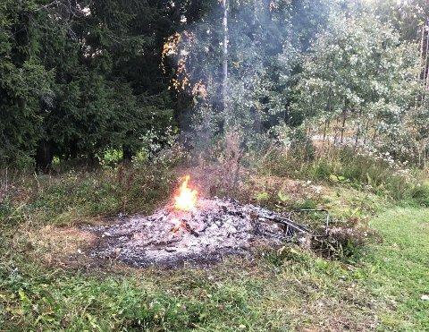 IKKE LOV: Dette er et eksempel på ulovlig brenning, ifølge Vestre Toten kommune.