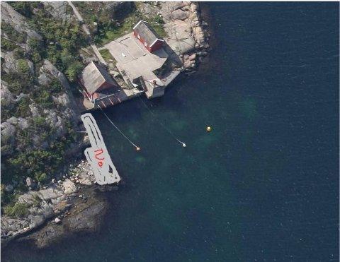 Denne illustrasjonen viser hvor bryggen er planlagt.