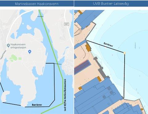 Disse illustrasjonene viser sikringen som Sjøforsvaret nå etablerer.