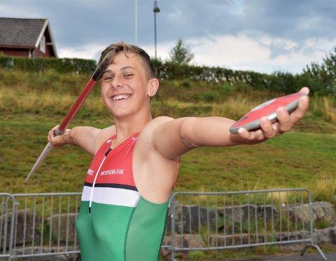 ALLSIDIG 14-ÅRING: Martin Beitnes Kreken vant stav og spyd, og tok også bronse i kule i Ungdomsmesterskapet i Trondheim.