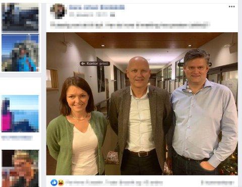 SNAKKA SAMAN: Slik let toppsjef Arve Varden  og klinikkdirektørane Trine Vingsnes og Tom Guldhav (t.h.) seg avbilde på Helse Førdes internside, etter samtalane dei har hatt.