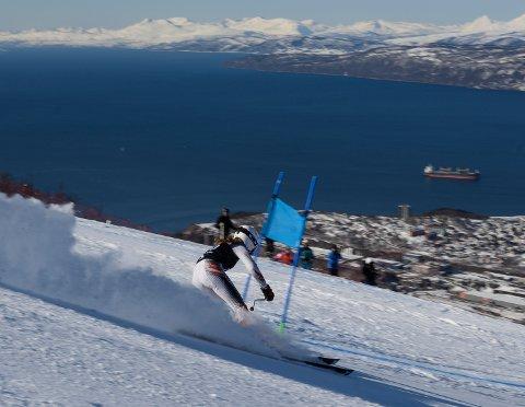 Fartsfylt: Mathilde Sund fra Narvik på vei ned Fjellheimløypa