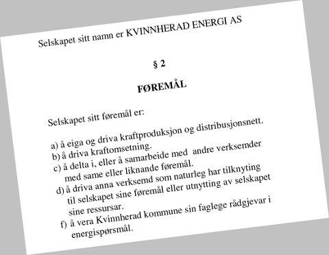 Faksimile av side tre, øvre del, i vedtektene til Kvinnherad Energi.