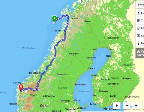 Fra Å i Lofoten til Aa i Hyen: 1310 kilometer, om du tar ferge over Vestfjorden. Eller 1545 km, om du følger anvisningene fra gulesider (bildet). I alle tilfelle en opplevelse for livet.