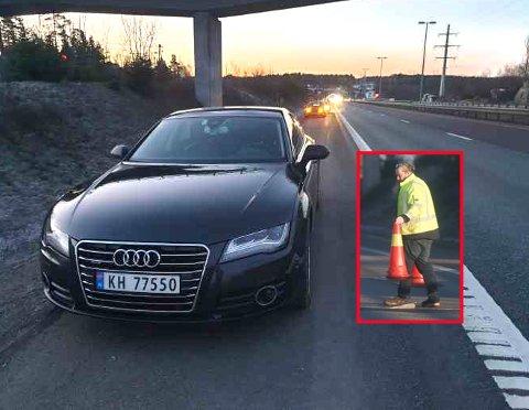 PUNKTERTE: Henrik Klemetsen var en av mange bilister som fikk seg en ubehagelig overraskelse tidlig på morgenkvisten 20. februar.