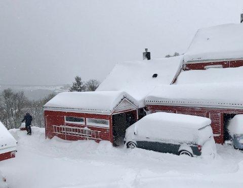 16 CM? Innbyggere på Slettaelva i Tromsø mistet søndag tellinga på hvor mange snømåkerunder de måtte gjennomføre. - Djises kraist, sier opptil flere i en kommentar.