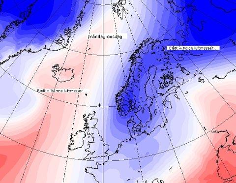 Dette bildet twitret meteorlogisk institutt lørdag, og varsler at det blir en brå overgang til mange minusgrader fra mandag.
