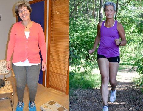 FØR OG NÅ: Bente Lystad veide 95,2 kilo på bildet til venstre. Til høyre ser du hvordan Bente ser ut i dag, 25 kilo lettere og mye mer aktiv.