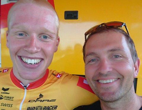 KLAR FOR TOKYO: Andreas Leknessund og Lars Holm smiler fra øre til øre etter OL-uttaket. Foto: Privat
