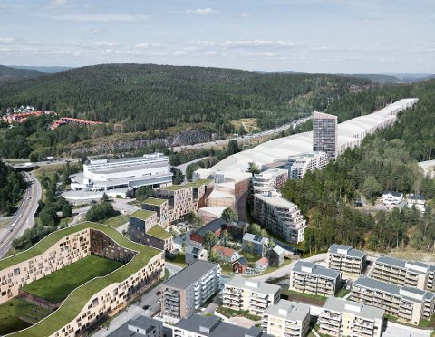 RUVER: Thon-hotellet vegg-i-vegg med skihallen blir det høyeste bygget i den nye bydelen Snøporten. Ill.: Selvaag