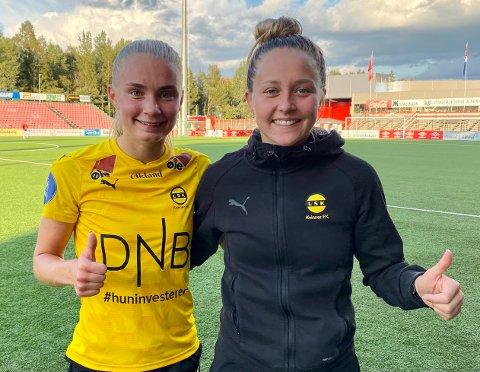 TOMMEL OPP: Både Thea Kyvåg (t.v) og Camilla Linberg scoret hattrick i cupkampen mot Kongsvinger.