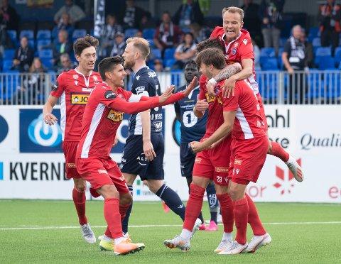 Sandefjord jublet for 1-0-ledelse borte mot Kristiansund på tampen av juli. Sivert Gussiås scoret målet. Men kampen endte til slutt med tap for gjestene.