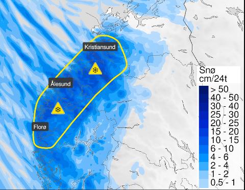 GULT: Meteorologisk Institutt sendte ut gult farevarsel for snøfall på Nordmøre før helgen.